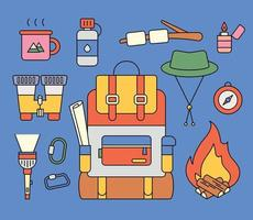 Collection of backpacking objects. flat design style minimal vector illustration.