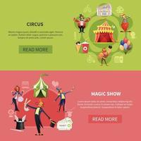 Circus Cartoon Banner Set Vector Illustration