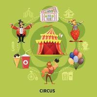 Round Circus Cartoon Composition Vector Illustration