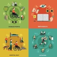 Disabled Person Icon Set Vector Illustration