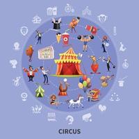 Circus Cartoon Round Composition Vector Illustration