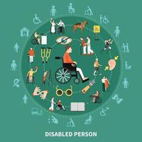 Disabled Person Round Composition Vector Illustration
