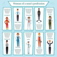 Woman Professions Infographics Vector Illustration