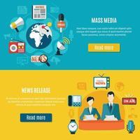 Banners horizontales de comunicados de prensa y medios de comunicación. vector