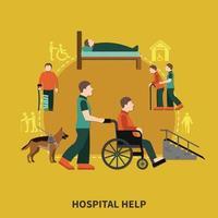 Ilustración de vector de composición plana de persona discapacitada