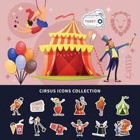 Ilustración de vector de composición coloreada de dibujos animados de circo