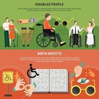 Ilustración de vector de conjunto de banner plano de persona discapacitada