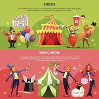 Two Circus Cartoon Banner Set Vector Illustration