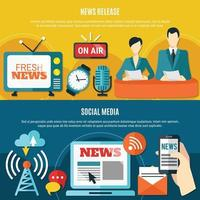 Social Media And News Release Horizontal Banners vector