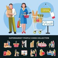 Supermarket People Icons Collection Vector Illustration