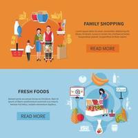 Family Shopping Supermarket Banners Vector Illustration