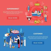 Supermarket Customers Banners Vector Illustration