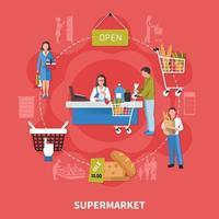 Supermarket Cash Desk Composition Vector Illustration