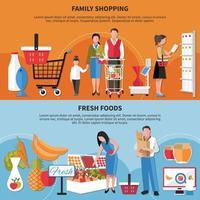 Family Shopping Fresh Foods Banners Vector Illustration