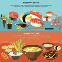 Sushi Colored Banner Set vector