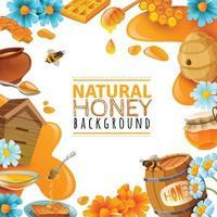 Honey Cartoon Frame Vector Illustration