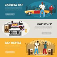 Rap Music 3 Flat Banners Vector Illustration