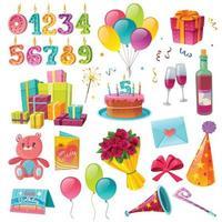 Celebration Birthday Cartoon Set Vector Illustration