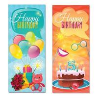 Happy Birthday Vertical Banners Vector Illustration