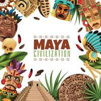 Ilustración de vector de marco de dibujos animados de civilización maya