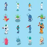 Aliens Isometric Icons Set Vector Illustration