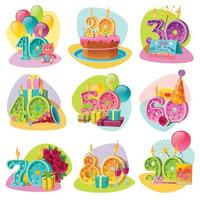 Anniversary Candle Numbers Retro Set Vector Illustration
