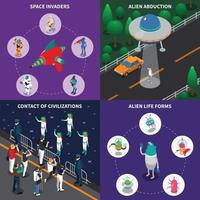 Alien Characters 2x2 Isometric Set Vector Illustration