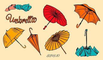 conjunto de paraguas de vector