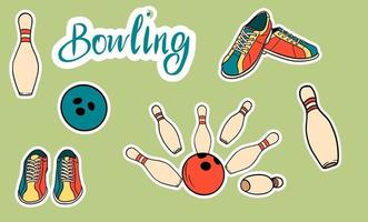 Set of vector icons dedicated to bowling.