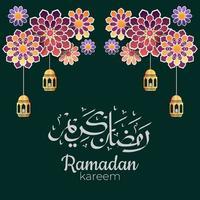 Ramadan Kareem Arabic calligraphy with traditional Islamic ornaments. Vector Illustration
