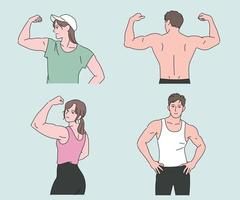 Fitness people showing great muscles. hand drawn style vector design illustrations.