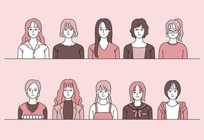 Collection of female characters in various fashion styles. hand drawn style vector design illustrations.