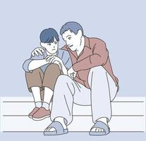Dad is comforting his little son. hand drawn style vector design illustrations.