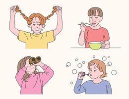 lindo comportamiento de los niños. ilustraciones de diseño de vectores de estilo dibujado a mano.