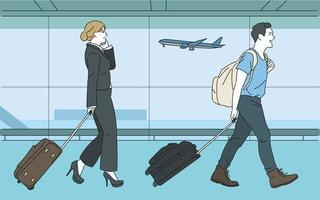 Passengers going to board the plane. hand drawn style vector design illustrations.