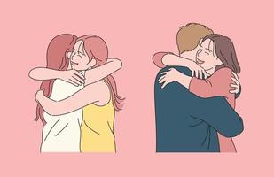 People who happily hug each other. hand drawn style vector design illustrations.