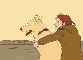 un hombre y un perro están sentados juntos mirando el río. ilustraciones de diseño de vectores de estilo dibujado a mano.