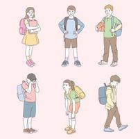 lindos personajes de la escuela primaria. ilustraciones de diseño de vectores de estilo dibujado a mano.