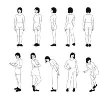 The girl's multi-directional standing pose. Default sample. hand drawn style vector design illustrations.