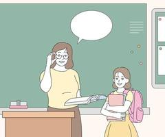 The teacher is speaking in front of the blackboard and a transfer student is standing next to it. hand drawn style vector design illustrations.
