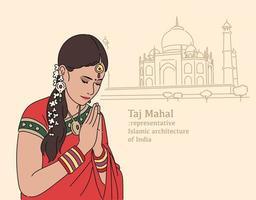 mujer india rezando frente al taj mahal. ilustraciones de diseño de vectores de estilo dibujado a mano.