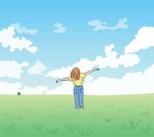 A woman is standing with arms wide open in a clear sky and a wide field. hand drawn style vector design illustrations.