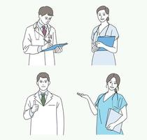 The doctors are smiling and making gestures. hand drawn style vector design illustrations.