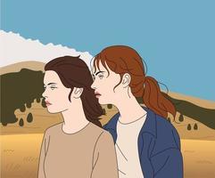 fondo natural. dos mujeres de pie en el viento. ilustraciones de diseño de vectores de estilo dibujado a mano.