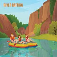 Ilustración de vector de composición al aire libre de rafting en el río