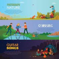 Camping People Horizontal Banners Vector Illustration