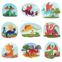 Fairy Dragon Kids Set Vector Illustration