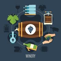 Winery Flat Concept Vector Illustration