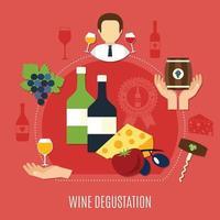 Flat Wine Degustation Concept Vector Illustration