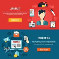 Social Media And Journalist Horizontal Banners vector